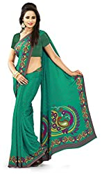 Design Willa Smooth feel Art crepe Sari (DWPC051,Green)
