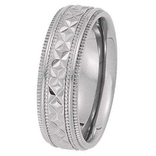 7Mm Titanium Diamond Cut Band With Milgrain Sides Size 7