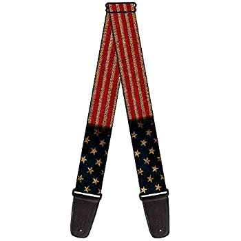 Nylon Guitar Strap - Vintage USA United States American Flag Stretch
