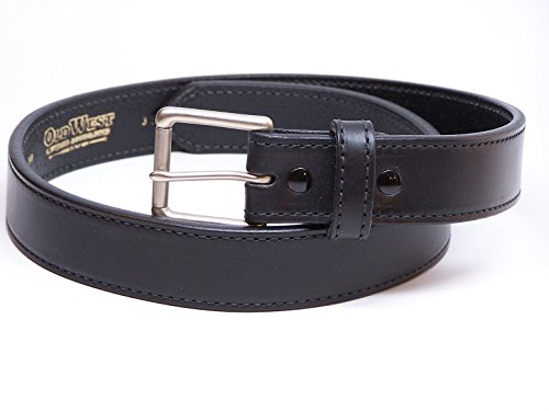 Mens Concealed Carry (CCW) Heavy Duty Genuine Leather Belt - Black 44 inch
