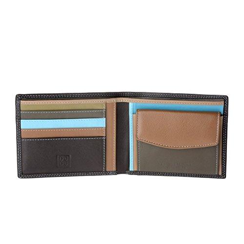 Portafoglio uomo in pelle Nappa colorato con portamonete e porta carte DUDU Marrone scuro