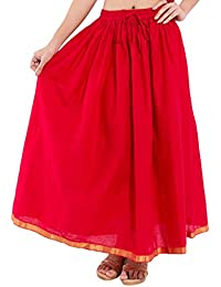 Decot Paradise Women's Cotton Regular Fit Skirt (Red) - B01DDLJYRC