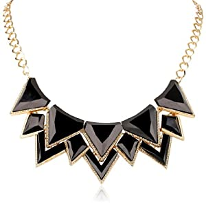 Milky Stone Gold-Tone and Black Bib Necklace, 18