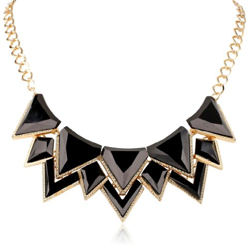 Milky Stone Chain Link Bib Shiny Gold Black Necklace,