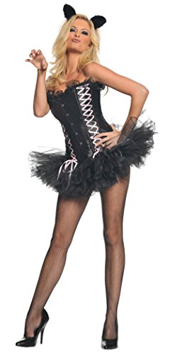 Underwraps Womens Sexy Kitty Cat Corset Animal Outfit Fancy Dress Costume