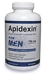 Apidexin - For Men - Build Muscle - Boost Testosterone - Weight Loss Diet Pill 240 Ct by Apidexin