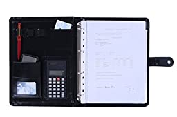 Agile-Shop Pu Leather Business Portfolio Folder for A4 Paper Document Holder or Document Organiser with Calculator Legal and Pen Holder