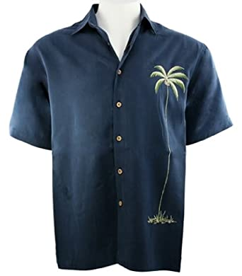 Bamboo cay solo palm men 39 s tropical style embroidered for Bamboo button down shirts