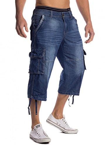 Jeans Cargo Shorts Tuhod ID1458 blu da uomo, Farben:Blu;Größe-Shorts:W36