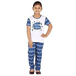 FICTIF Kid Girl's White Color Top & Pyjama Set