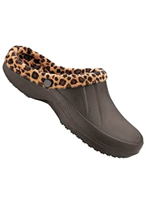 Women's Fleece Lined Clogs, Color Leopard, Size 06