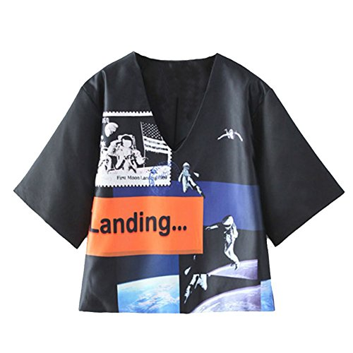SaiDeng Donna Scollo A V Spazio Cartoon Modello Stampato Manica Corta Maglietta Nero S