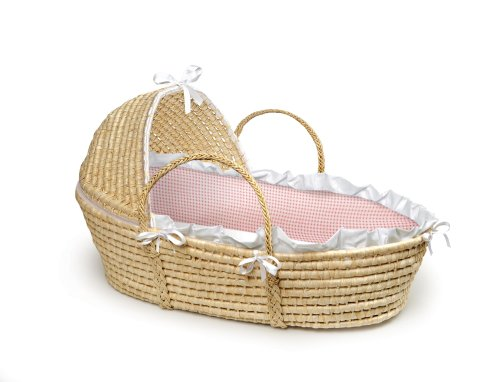 For Sale! Badger Basket Company Natural Baby Moses Basket with Hood - Pink Gingham Bedding