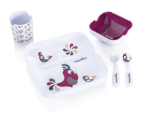 Babymoov A005507 Lovely Lunch Set Pappa Confezione Regalo, Galletto, Bianco/Fucsia