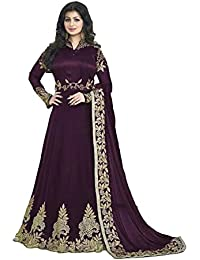 ARYAN FASHION Designer Beautiful Violet Embroidered Work Long Anarkali Suit Semi-Stitched Suit ( Bottom Unstitched)