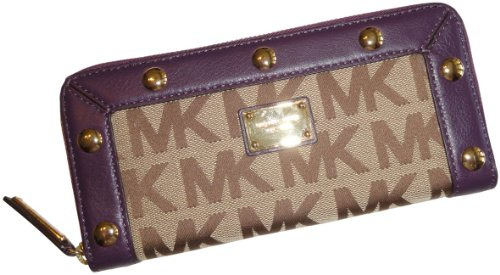 MICHAEL Michael Kors Michael Kors Delancy Continental Signature Zip Around Wallet Beige/Ebony/Purple