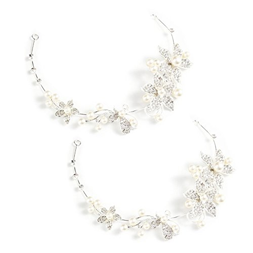 Yueton Pack of 2 Women Crystal Rhinestone Pearls Wedding Headband New Fashion Hair Accessories Bride Hair Jewelry