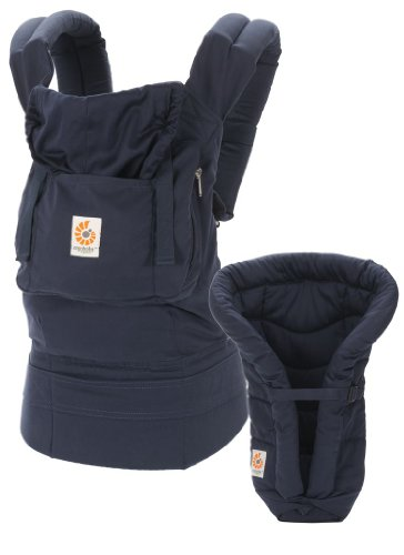 ERGObaby Organic Bundle of Joy Carrier and Infant Insert, Navy/Midnight