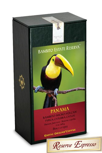 Exotic Origins® Coffee - Bambito Estate Reserva - Espresso Roast - Limited Production By The Bambito Estate Founded In 1945. Located In The Mountains Of Bambito, Chiriqui Province, Panama, This Exceptional Coffee Produces A Persistent Crema With Notes Of