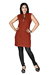 Shahlon Women's Brown Crepe Kurti Fabric