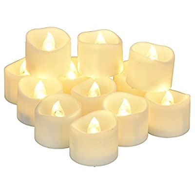 eLander LED Tea Lights Flameless Candle with Timer, 6 Hours On and 18 Hours Off, 1.4 x 1.6-Inch., 12 Pieces, White