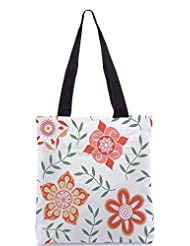 Snoogg Colorful Floral Seamless Pattern In Cartoon Style Seamless Pattern Designer Poly Canvas Tote Bag - B012FUHC5I