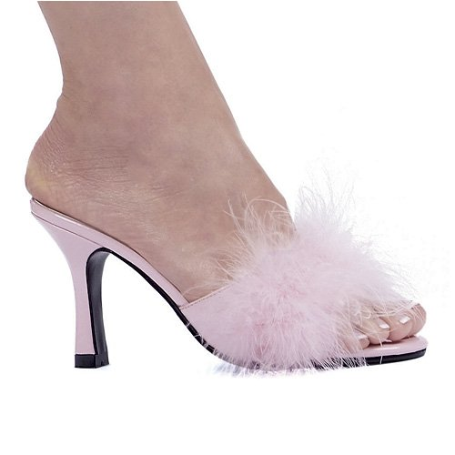 Cheap 3.5 Inch Heel Marabou Slippers Women'S Size Shoe With Matching Marabou Feathers (361-SASHA BLK 11)