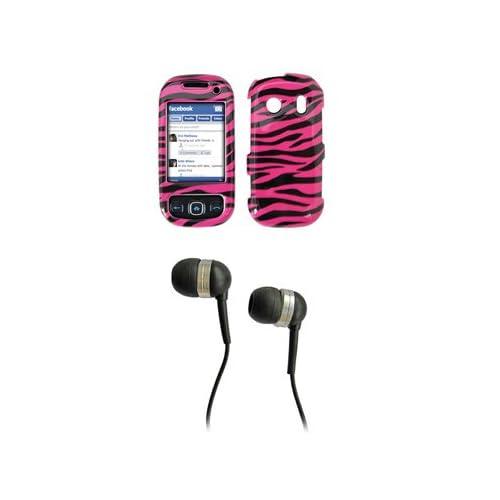 Samsung Seek M350 Premium Hot Pink Zebra Skin Design Snap on Case Cover Cell Phone Protector + Black 3.5mm Stereo Hands free Headphones for Samsung Seek M350