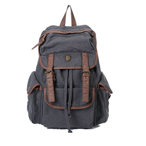 BUG Multi-function Canvas Backpack/ Practical Rucksack /Leisure Rucksack/ Unisex Backpack – (Gray with Brown Trim)