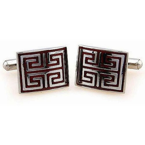 Stainless Steel & red wood Cuff-links square geometric design