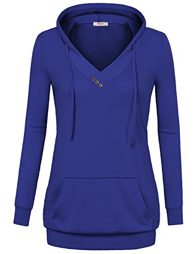 Timeson Women Lightweight Slim Fit Casual Kagaroo Button Drawstring Long Tunic Sweatshirt Hoodie XL Royal Blue (Varsity Jacket Hooded Light Blue compare prices)