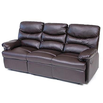 Divano 3 posti reclinabile in cuoio rigenerato marrone