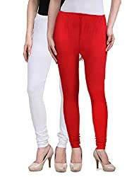 Desi Duos Women's Solid Cotton Leggings With Great White & Red Color