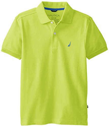 Nautica Big Boys' Short Sleeve Solid Pique Polo, Lime, Large