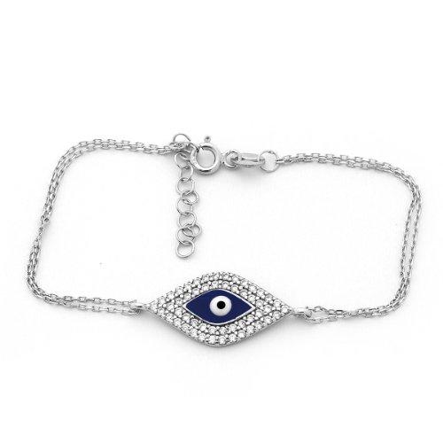 Sterling Silver & Cubic Zirconia Cz Evil Eye Bracelet