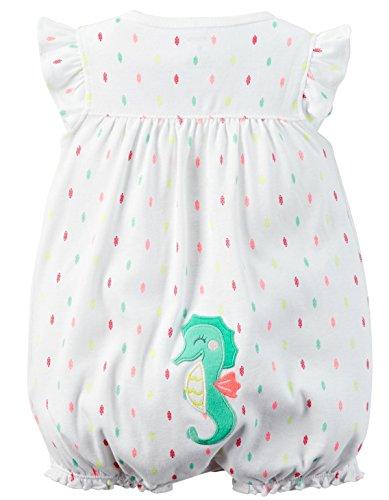 Carter's Baby Girls 1-piece Appliqué Snap-Up Cotton Romper (9 Months, White Seahorse)