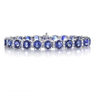 Diamond and Blue Sapphire 18k White Gold Bracelet