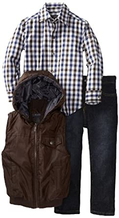Kenneth Cole Boys 2-7 Puffy Vest with Plaid Shirt and Jean, Brown, 5