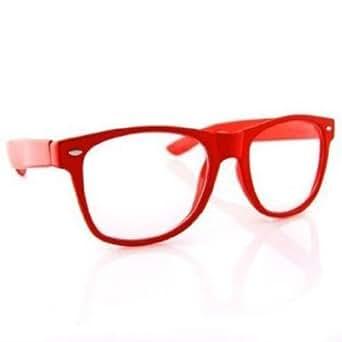 Clear Lens Wayfarer NERD Sunglasses Color Frame - Red