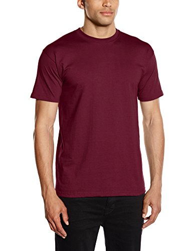 Fruit of the Loom - Heavy Cotton Tee Shirt, T-shirt da uomo, rosso (burgundy), M