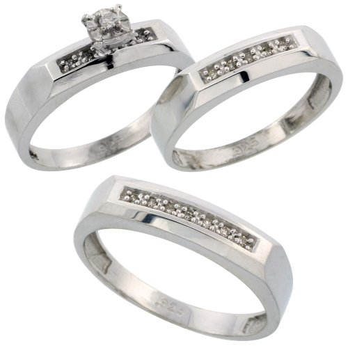 Sterling Silver 3-Piece Trio His (5mm) & Hers (4.5mm) Diamond Wedding Band Set, w/ 0.14 Carat Brilliant Cut Diamonds; (Ladies size J to T; Men's size J to Z+2)