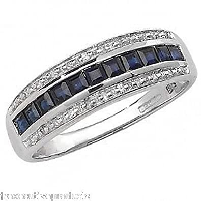 J R Jewellery 441177 White Gold Sapphire Squares & Diamond Eternity Ring
