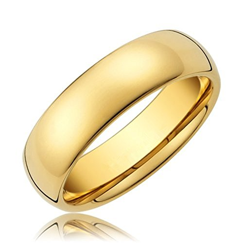 King Will 6mm 24k Gold Plated High Polished Comfort Fit Domed Tungsten Ring Wedding Band(10)