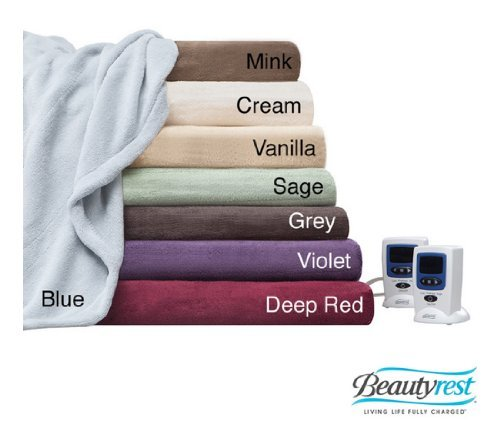 Beautyrest - Queen - Plush Luxury Heated Blanket - Vanilla front-815390