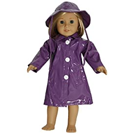 BUYS BY BELLA Purple Raincoat for 18 Inch Dolls Like American Girl