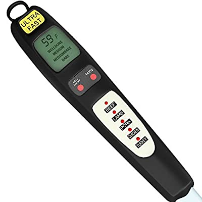 Pre-Programmed Digital Meat Thermometer - Instant Probe Read -5 BBQ Cooking Program - Dad Birthday Gift Idea