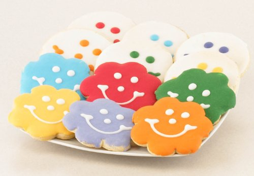 A Dozen Smiles Bouquet Combo - Flower and Original Smiley Gourmet Sugar Cookies