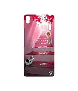 Vogueshell Girl And a Cat Printed Symmetry PRO Series Hard Back Case for Lenovo A7000 Turbo