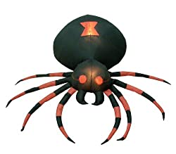 4 Foot Wide Halloween Inflatable Black Spider Yard...