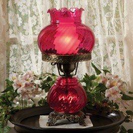 Cranberry Glass Hurricane Lamp
